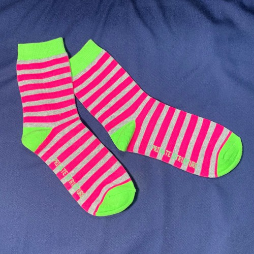 Private Structure Cotton Socks - Pink Stripe