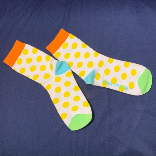 Private Structure Cotton Socks - Pokka Dot Yellow